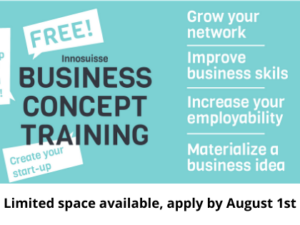 Fall Innosuisse Business Concept Training is Open