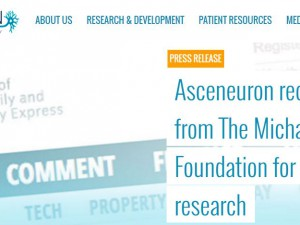 Asceneuron receives grant from The Michael J. Fox Foundation for Parkinson's Research